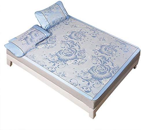 Cafopgrill Eisseidenmatte Eisseidenkühlung Sommerschlafmatte Falten Blau Spannbetttuch Set(02)
