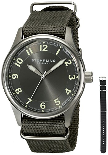 Stuhrling Original Men's 741.SET02 Aviator Stainless Steel Watch with Interchangeable Canvas Bands