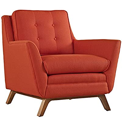 Modway Beguile Mid-Century Modern Accent Arm Lounge Chair with Upholstered Fabric in Azure - Walnut Stained Beech Wood Legs Plastic Foot Glides Finely Upholstered Fabric - living-room-furniture, living-room, accent-chairs - 51Ey6Fgg9RL. SS400  -