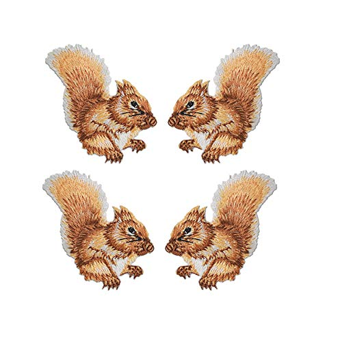 Mystart 4 Pcs Cute Squirrel Embroidery Patches Iron On Sew On Appliques for Jackets Jeans Garment Decoration