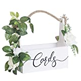 Ling's moment Rustic Wooden Card Box DIY Floral Basket Shape for Wedding, Bridal Shower, Baby Shower, Graduation Party