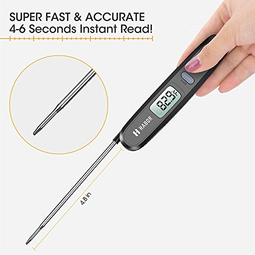 Cooking Thermometer, Habor UPGRADED Meat Thermometer Kitchen Thermometer Instant Read Thermometer with Foldable Probe for Food Baking Liquid Meat BBQ Grill Smokers by Habor (Image #2)