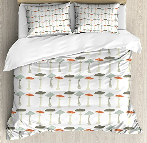 Ambesonne Mushroom Duvet Cover Set, Pattern with Pale Colored Boletus Porcini Amanita Toadstools Retro Organic Food, Decorative 3 Piece Bedding Set with 2 Pillow Shams, King Size, White Grey
