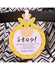 Giraffe-Stop,Please Look,Don't Touch Baby Sign Tag (Girl Boy Preemie Sign, Newborn, Baby Car Seat Tag, Baby Bed Tag,Stroller Tag, Carrycot Basket Tag,Baby Preemie No Touching Car Seat Sign Tag) W/Hanging Straps