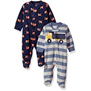 Carter's Baby Boys' 2-Pack Microfleece Sleep and Play, Fox/Construction, 6 Months