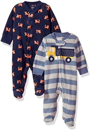 Carter's Baby Boys' 2-Pack Microfleece Sleep and Play, Fox/Construction, 9 Months (Microfleece Button Front Shirt)
