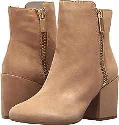 Kenneth Cole New York Women S Rima Bootie With Double Zip Block Heel Suede Boot Almond 10 M Us