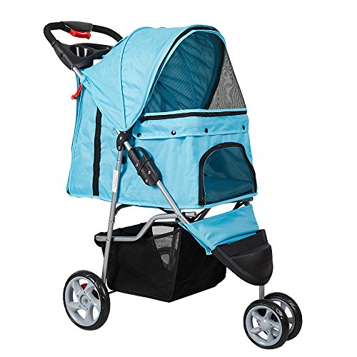 Livebest 3-Wheels Elite Jogger Pet Stroller Kitten/Puppy Easy Walk Folding Travel Carrier Pet Escape Proof