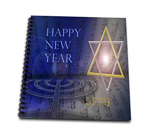 3dRose Jewish Themes - Image of Bright Mogen David with Menorah and Happy New Year - Memory Book 12 x 12 inch ()
