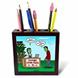 3dRose Rich Diesslins Funny Out to Lunch Cartoons - Zombie Corn Maze - going commercial - 5 inch tile pen holder (ph_266814_1)