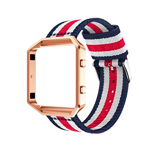 (Owill Durable Woven Nylon Adjustable Replacement Band Sports Strap + Metal Case for Fitbit Blaze Watch, Fits 135mm-205mm Wrist (Multicolour B))