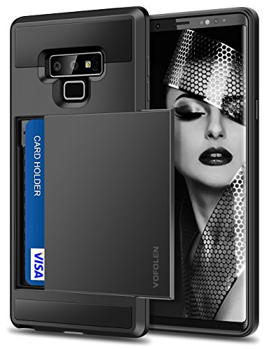 Vofolen Sliding Cover for Galaxy Note 9 Case Wallet Credit Card Holder ID Slot Pocket Heavy Duty Protection Dual Layer Protective Hard Shell Hybrid TPU Bumper Armor for Samsung Galaxy Note 9 (Black)