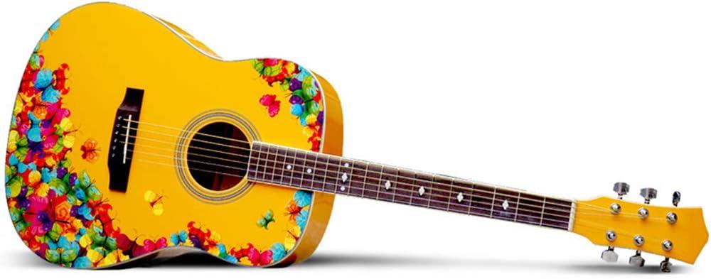 Guitarra folklórica, guitarra folk de 25 pulgadas, patrón de años de 41 pulgadas, principiantes para hombres y mujeres, serie de guitarras artísticas adecuadas para amantes de la música guitarra