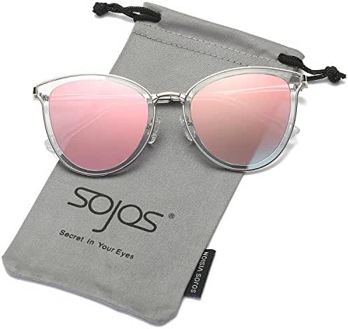 SojoS Womens Cat Eye Flash Mirrored Reflective Lenses Sunglasses SJ1052