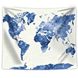 "apartment living room decorating ideas Artiron Vintage Tapestry Watercolor World Map Tapestry Abstract Painting Wall Art Boho Hippie Vintage Wall Hanging Tapestry Home Decor for Bedroom Living Room Dorm Apartment (60""x80"" Map Tapestry)"