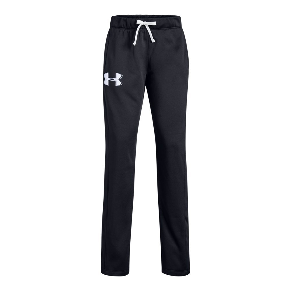 Under Armour Girls Armour Fleece Pants, Black (002)/White, Youth X-Large by Under Armour