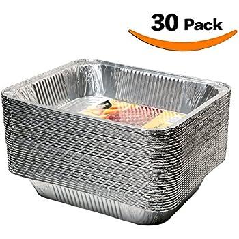 XIAFEI Disposable Durable Aluminum Oblong Foil Steam Table Pans, Half Size Deep, 10x13 Pans (30 Pack)