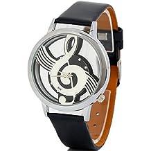 Hemlock Personal Men's Womens Music Note Pattern Watches PU Leather Band Quartz Wrist Watches Black