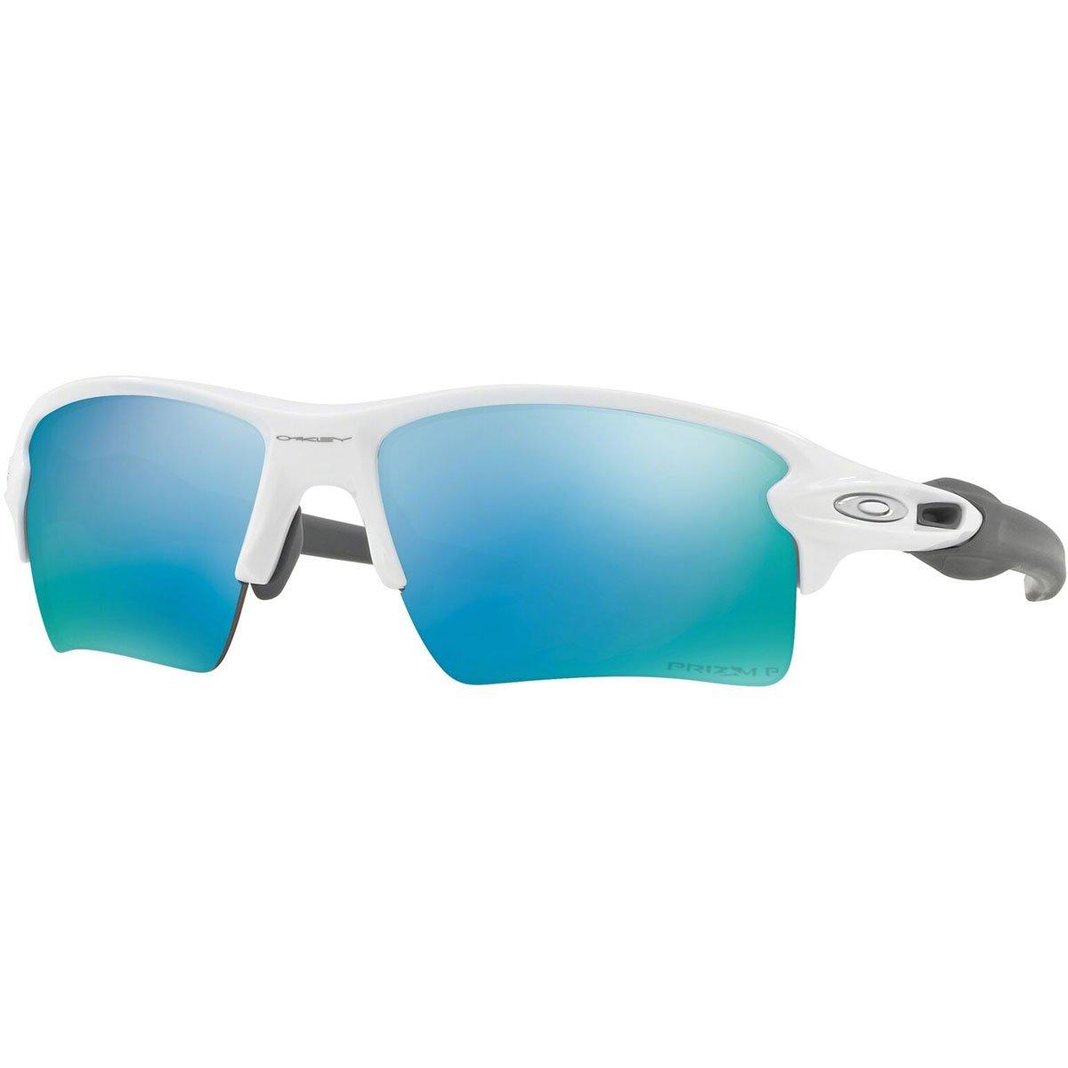 Oakley Men's OO9188 Flak 2.0 XL Rectangular Sunglasses, Polished White/Prizm Deep H2O Polarized, 59 mm by Oakley