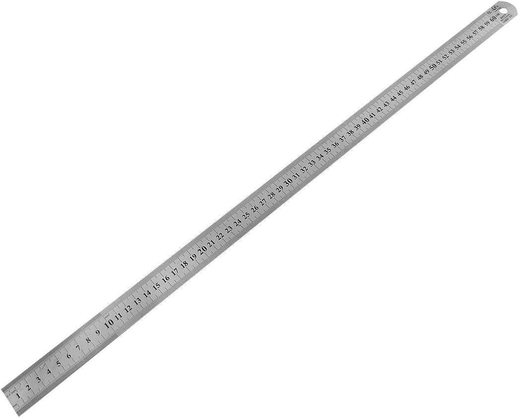 Straight Ruler 60cm 24 Inch Stainless Steel Measuring Tool with Hanging Hole