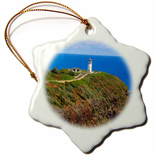 Point Kilauea - 3D Rose Kilauea Point National Wildlife Refuge - Lighthouse - Kauai - Hawaii Snowflake Ornament 3