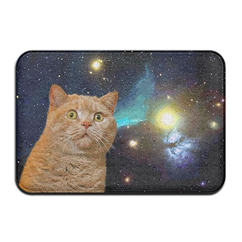 Cosmic Cat Outdoor Rubber Doormat For Front Door Duty Outside Shoes Scraper Floor Door Mat For Porch Garage High Traffic Non Slip Entrance Rug Low Profile Soccer Ball Carpet Home Decor 40x60cm