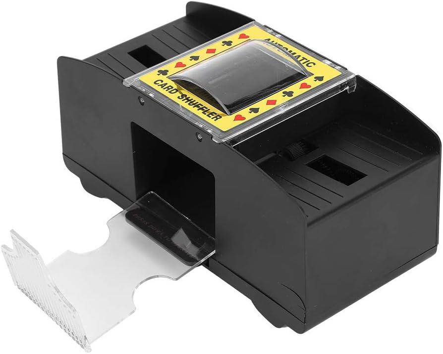 Jinxuny Barajador de Naipes Dispensador Automático de Máquina de Viaje con Distribuidor de Casino de 2 Pisos Que Funciona con Baterías Comodidad Fácil de Usar