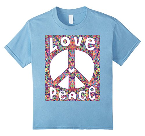 Kids PEACE SIGN LOVE T Shirt 60s 70s Tie Dye Hippie Costume Shirt 10 Baby Blue