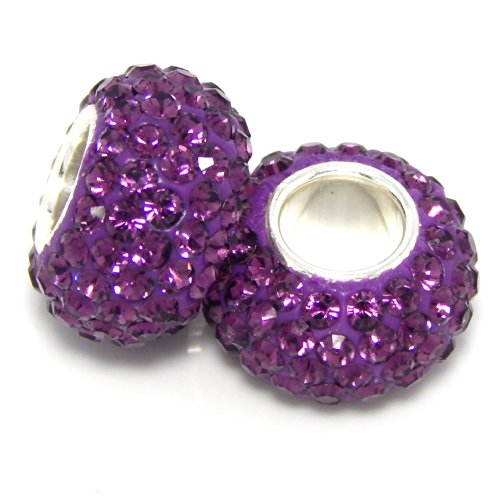 Pro Jewelry (Set of 2) 925 Sterling Silver Birthstone February Amethyst Purple Crystal Charm Bead