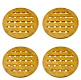 Weikai Bamboo Trivet, Set of 4, Solid Bamboo Wood Trivets with Non-slip Pads for Hot Dishes and Pot (7'' Round)
