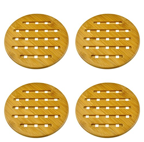 Solid Wood Countertop (Weikai Bamboo Trivet, Set of 4, Solid Bamboo Wood Trivets with Non-slip Pads for Hot Dishes and Pot (7