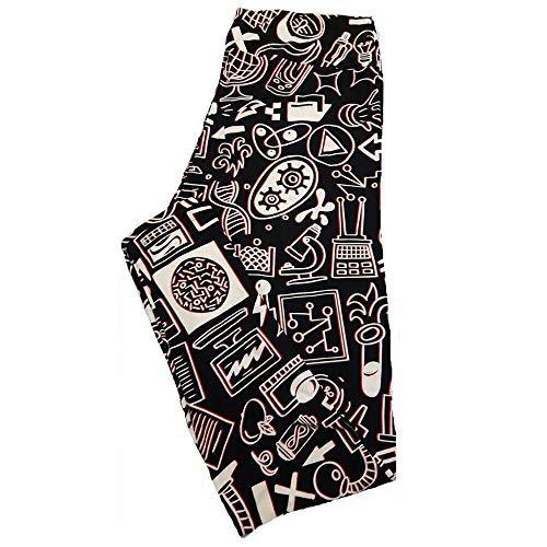 Lularoe TC2 Black White Science Symbols Technology Atoms Teachers Print Leggings fits Adult Sizes 18+
