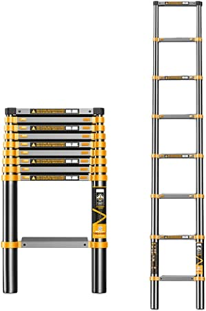 Escalera telescópica 2,3 M / 7,5 Pies De Escalera De Aluminio Ligero De Extensión Telescópica para Loft RV Patio Garaje Ático De Techo Y Otras Reparaciones Menores - Carga Máxima 150kg / 330lb: Amazon.es: Hogar