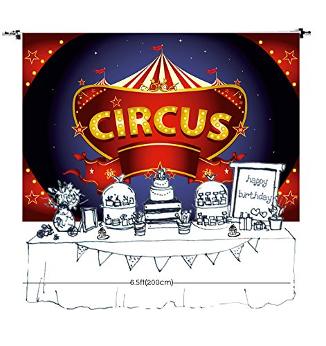 HUAYI 7x5ft photography backdrop background Circus Carnival themed birthday party Baby shower kids dessert table Decor banner photo studio booth photocall XT-6655 -