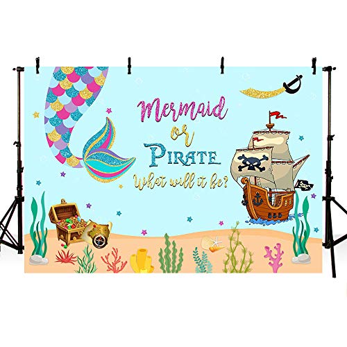 (MEHOFOTO Mermaid or Pirate Gender Reveal Photography Backdrop Summer Ocean Baby Shower Sprinkle Party Decoration Under The Sea Pirate Ship Purple Turquoise Photo Studio Background Banner)