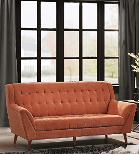 """Homelegance Erath 81"""" Fabric Sofa, Orange - Flared arm sofa (8244RN-3) features vibrant easy to clean polyester cover Tapered natural finish wood legs subtly contrast and balance the vibrant finish cover High quality design features no-sag pocket coil spring construction with high density foam for added comfort - sofas-couches, living-room-furniture, living-room - 51Ey9e0PDxL -"""