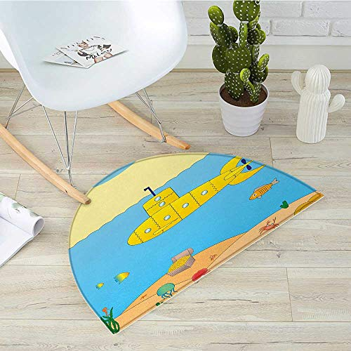 Yellow Submarine Semicircle Doormat Cartoon Under Sea Adventure Jellyfish Treasure Chest Seagull Fish Halfmoon doormats H 51.1