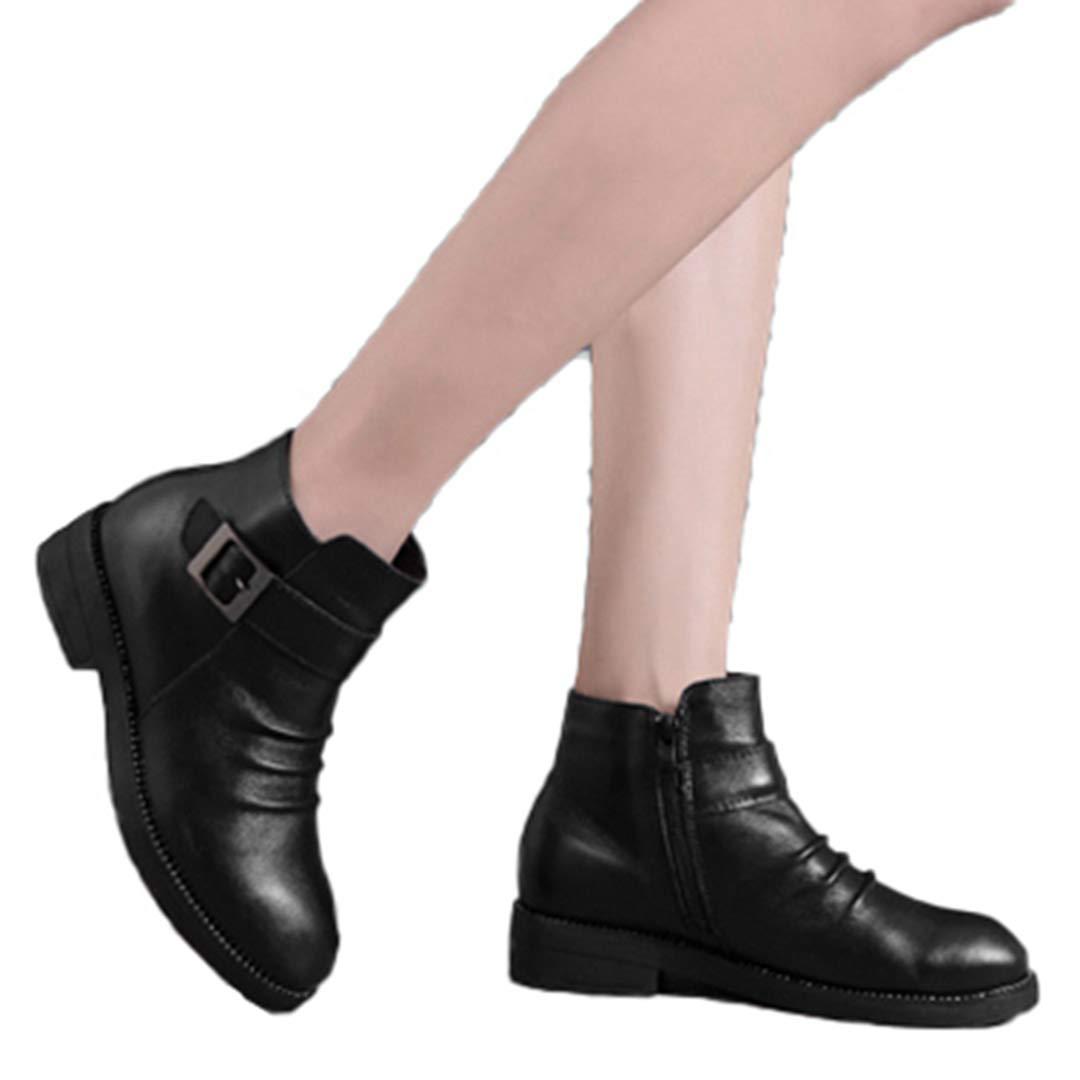 Echtes Leder-Stiefel Winter-Plüsch-Pelz-warme Schwarze Wölbung PU-Schnee-Knöchel-Frauen Stiefel