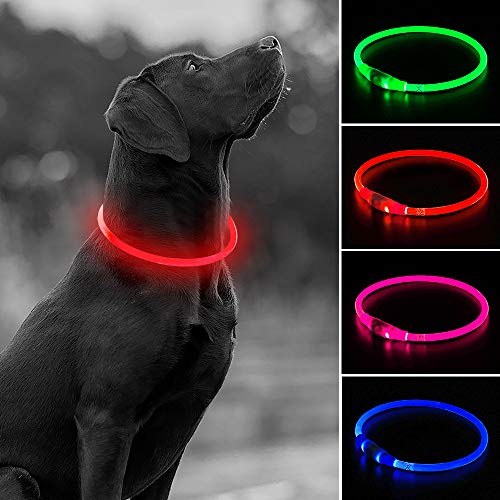 USB Rechargeable LED Dog Collar, Glow in The Dark Flashing TPU Pet Safety Collar, DIY Light Up Collars to Keep Your Dogs Be Visible& Safe When Night Dog Walking(Red)
