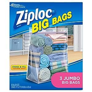Ziploc Big Bag Double Zipper, 3 Jumbo Big Bags (Packaging may vary)