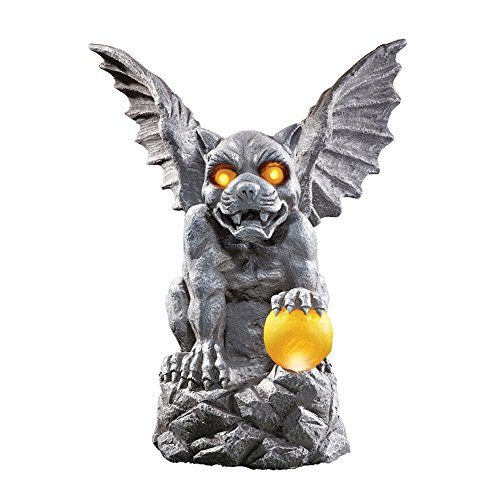 Ball Gargoyle (Collections Etc Outdoor Decorations Mythical Gargoyle Statue with Solar Powered Outdoor Lights, Garden, Yard, Porch, Patio, Lawn, Stone Gray Color)