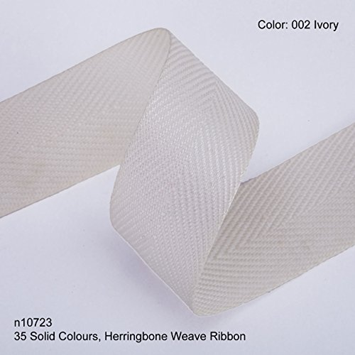 Neotrims 19mm Herringbone Twill Tape Woven Soft Ribbon Trimming 35 Fashion Colours, Ivory