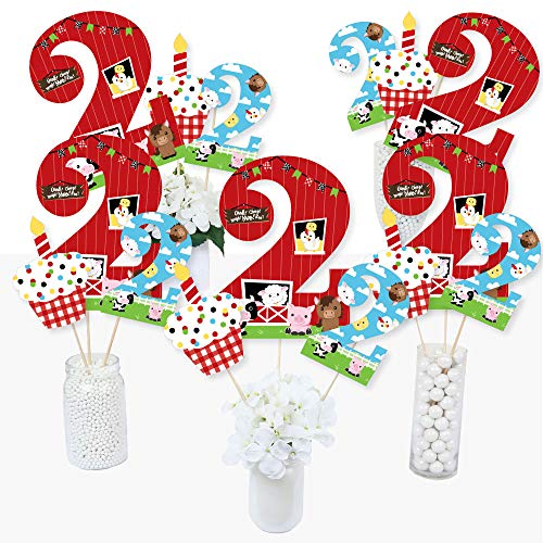 Farm 2nd Birthday Party Supplies (2nd Birthday Farm Animals - Barnyard Second Birthday Party Centerpiece Sticks - Table Toppers - Set of)