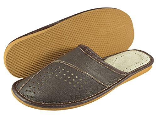 aveego - Zapatillas de estar por casa de Otra Piel para hombre marrón oscuro