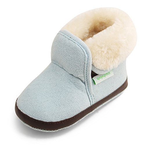 24 Baby Footwear Boots - Delebao Baby Classic Soft Sole Winter Warm Snow Boots Prewalker Crib Shoes (12-24 Months, Sky Blue 2)