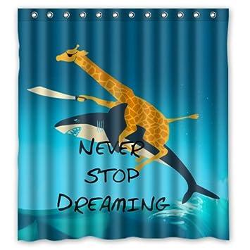 Waterproof Bathroom Giraffe Riding Shark Never Stop Dreaming Shower Curtain  (66u0026quot; ...