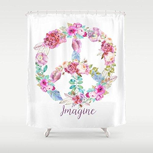 Amazon Imagine Peace Sign Fabric Shower Curtain Handmade
