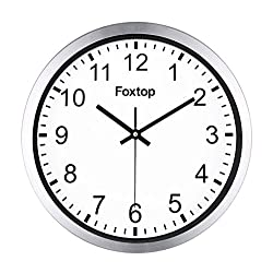 Foxtop 12 Silent Non-ticking Universal Quartz Movement Wall Clock-Large Indoor Outdoor Silver Wall Clocks- Stainless Steel Metal Frame Glass Cover Silver