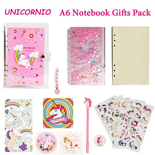 Unicorn Notebook Diary Journal Gifts Loose Leaf Wirebound Creative Composition Subject Packs with Sequin PVC Cover Unicorn Stickers Pen Hanging Drop Cute Gift Ideas Shcool Supplies for Girls Kids(A6)