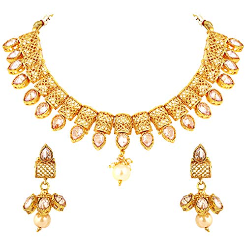 Aheli Exquisite Handcrafted Indian Traditional Necklace Earrings Set Bollywood Wedding Saree Wear Jewelry for Women